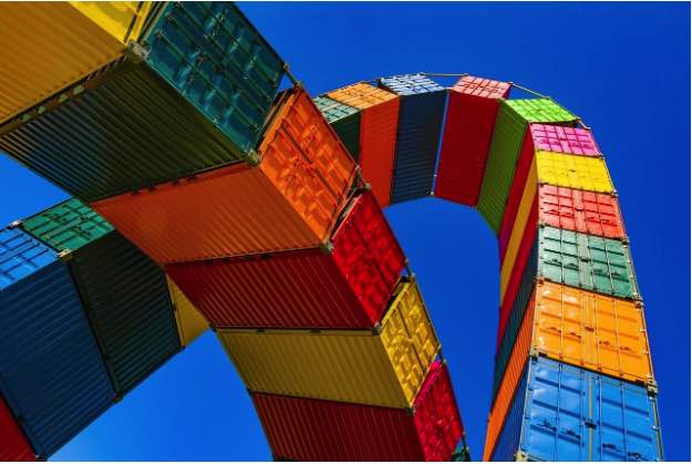An arch made of shipping containers
